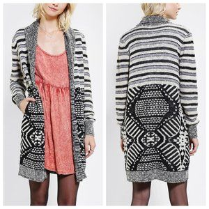 UO Ecote Mix Intarsia Open Front Long Cardigan